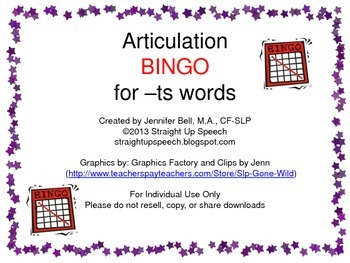 Articulation BINGO for -ts words