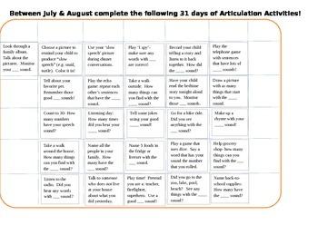Articulation Calendar!!!!