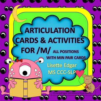 Speech Therapy Articulation Cards and Activities for M- wi