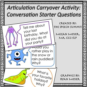 Articulation Carryover Activity: Monster Conversation Star