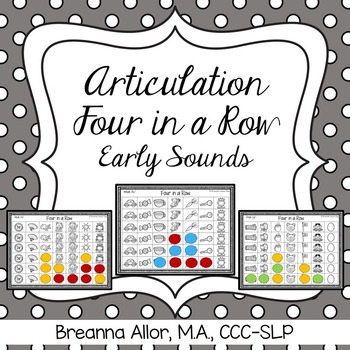 No Prep Articulation Four in a Row Early Sounds