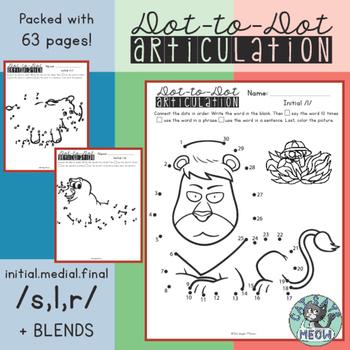 Articulation Homework: Dot-to-Dot Worksheets for /s,l,r/ +