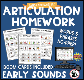 Articulation Homework Early Sounds Bundle! p,b,m,n,ng, y,