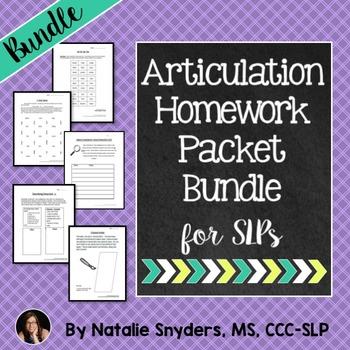 No Prep Articulation Homework Packets 1, 2, & 3 BUNDLE