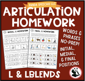 Articulation Homework for /l/ and /lblends/ Word and Phras