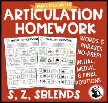 Articulation Homework for /s/, /z/,  and sblends/ Word and