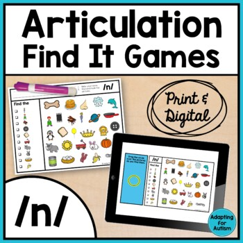 Articulation Game: /n/ I Spy adapted with 3 levels (Speech