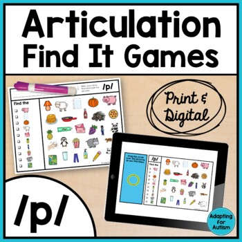 Articulation Game: /p/ I Spy adapted with 3 levels (Speech