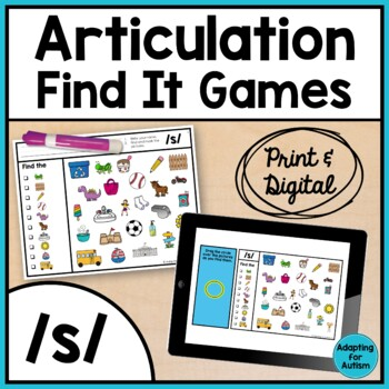 Articulation Game: /s/ I Spy adapted with 3 levels (Speech