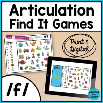 Articulation Game: /f/ I Spy adapted with 3 levels (Speech