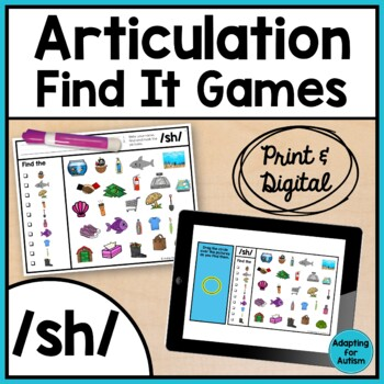 Articulation Game: /sh/ I Spy adapted with 3 levels (Speec