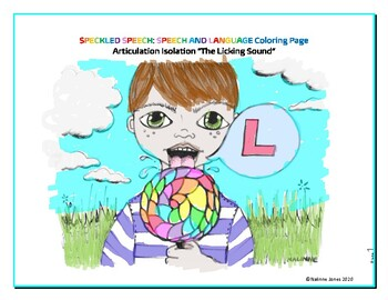 Articulation Isolation - /L/ - Licking Sound Coloring Page
