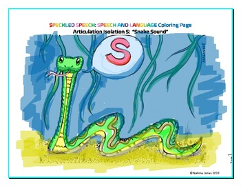 Articulation Isolation - /S/ - The Snake Sound Coloring Pa