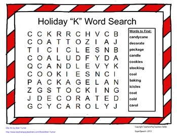 Articulation K Holiday Word Search