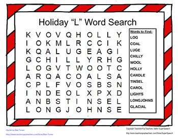 Articulation L Holiday Word Search