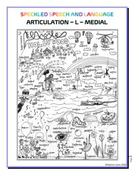 Articulation - L medial sound - Coloring Sheet - Phonology