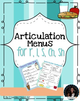 Articulation Menus for r, l , ch, sh, s sounds phonemes