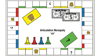 """Articulation Monopoly: """"SH"""" ; Speech Therapy """"SH"""""""