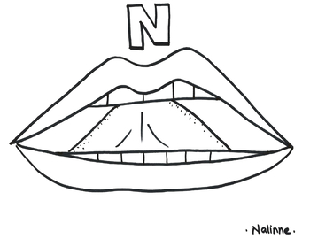 Articulation Mouth - N - Coloring Page - Phonology