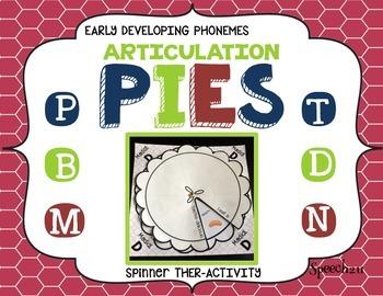Articulation Pies: P, B, M, T, D, N, K, G, velars, bilabials