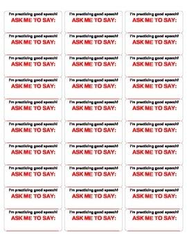 Articulation Practice Sticker Sheet
