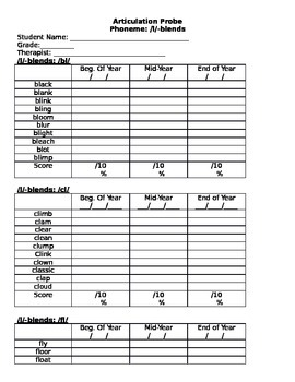 Articulation Probe /l/-blends - Word Level