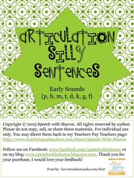 Articulation Silly Sentences Early Sounds {p, b, m, t, d,
