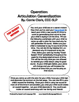 Articulation Therapy Carry-Over Program