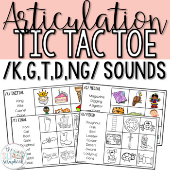 Articulation Tic Tac Toe Game for /k g t d/ sounds- Fronti