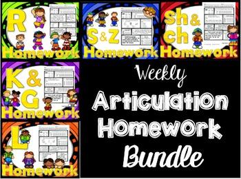 Articulation Weekly Homework BUNDLE - /r s z l sh ch k g/