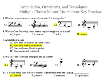 Articulation and Note Symbols Multiple Choice