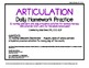 Articulation daily Homework practice calendars speech ther