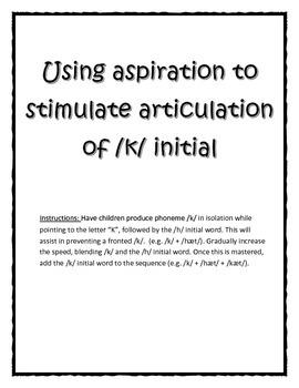 Articulation of /k/ sound