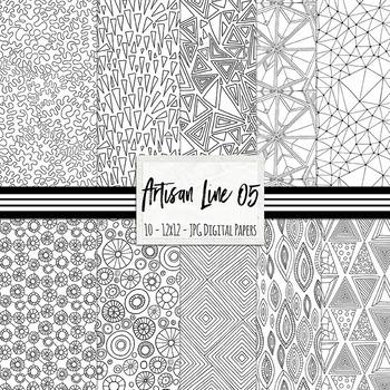 Artisan Line 05 Background Paper, Doodled Digital Paper, B