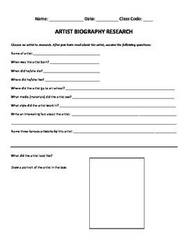 Artist Biography Research Worksheet