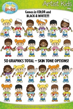 Artist Kid Characters Clipart Set — Includes 50 Graphics!