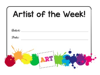 Artist of the Week Certificates