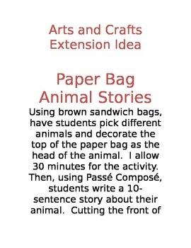 Arts and Crafts Extension Idea for Passé Composé