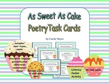 As Sweet As Cake: Poetry Task Cards