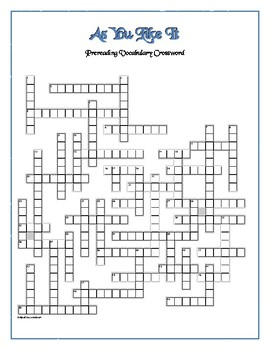 As You Like It: 50-word Prereading Crossword—Fun and Unique!
