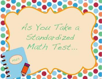 As You Take a Standardized Math Test....