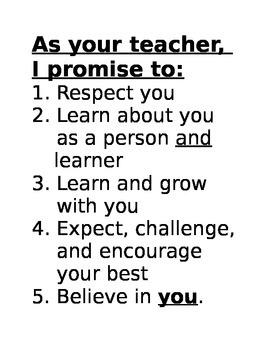 As Your Teacher, I Promise To