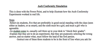 Asch Conformity Simulation for Sociology/Psychology