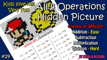 Ash & Pikachu - Mystery Picture - 4 operations - Four leve