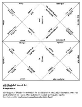 ASD3 Cap7 Vocab 1 Vocab Puzzle Rompecabeza (Así se dice 3)