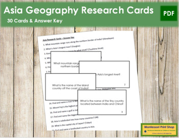 Asia Geography Research Cards