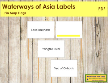 Asia Waterways Map Labels - Pin Map Flags (color-coded)