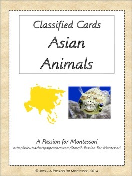 Asian Animals, 28 Three Part Cards, Asia Continent Box, Mo