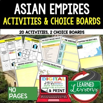 Asian Empires Choice Board Activities (Paper and Google Dr