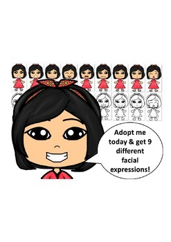 Asian Girl in a Red Dress with Nine Different Facial Expressions